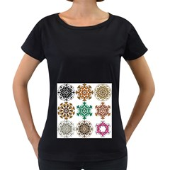 A Set Of 9 Nine Snowflakes On White Women s Loose Fit T Shirt (black)