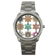A Set Of 9 Nine Snowflakes On White Sport Metal Watch