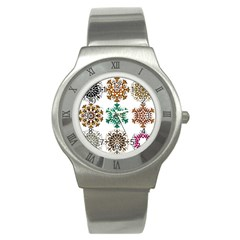 A Set Of 9 Nine Snowflakes On White Stainless Steel Watch