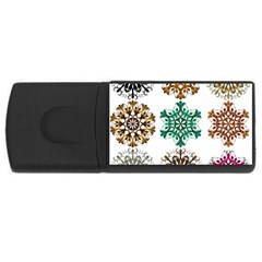 A Set Of 9 Nine Snowflakes On White USB Flash Drive Rectangular (4 GB)