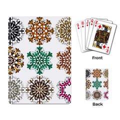A Set Of 9 Nine Snowflakes On White Playing Card