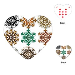 A Set Of 9 Nine Snowflakes On White Playing Cards (heart)