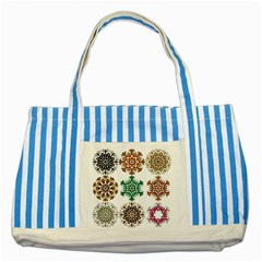 A Set Of 9 Nine Snowflakes On White Striped Blue Tote Bag