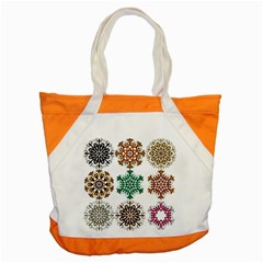 A Set Of 9 Nine Snowflakes On White Accent Tote Bag