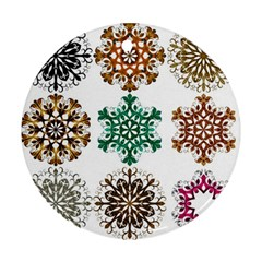 A Set Of 9 Nine Snowflakes On White Round Ornament (two Sides)