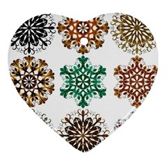 A Set Of 9 Nine Snowflakes On White Heart Ornament (two Sides)