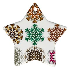 A Set Of 9 Nine Snowflakes On White Star Ornament (two Sides)