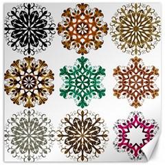 A Set Of 9 Nine Snowflakes On White Canvas 12  X 12