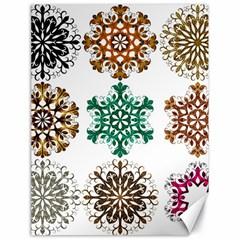 A Set Of 9 Nine Snowflakes On White Canvas 18  X 24
