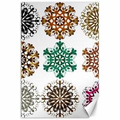 A Set Of 9 Nine Snowflakes On White Canvas 24  X 36
