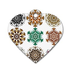 A Set Of 9 Nine Snowflakes On White Dog Tag Heart (two Sides)