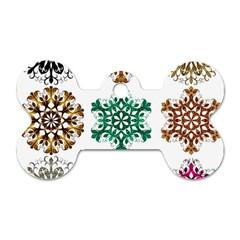 A Set Of 9 Nine Snowflakes On White Dog Tag Bone (one Side)