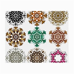 A Set Of 9 Nine Snowflakes On White Small Glasses Cloth (2 Side)