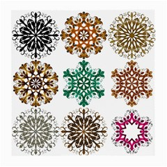 A Set Of 9 Nine Snowflakes On White Medium Glasses Cloth (2 Side)