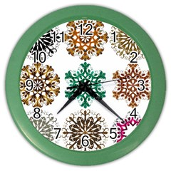 A Set Of 9 Nine Snowflakes On White Color Wall Clocks