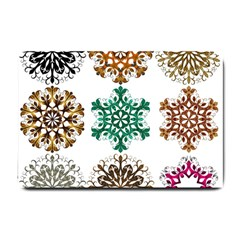 A Set Of 9 Nine Snowflakes On White Small Doormat
