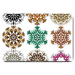 A Set Of 9 Nine Snowflakes On White Large Doormat