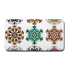 A Set Of 9 Nine Snowflakes On White Medium Bar Mats