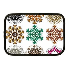 A Set Of 9 Nine Snowflakes On White Netbook Case (Medium)