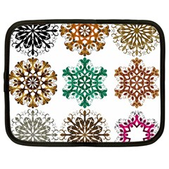 A Set Of 9 Nine Snowflakes On White Netbook Case (large)