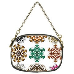 A Set Of 9 Nine Snowflakes On White Chain Purses (two Sides)