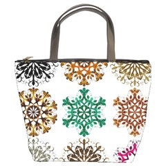 A Set Of 9 Nine Snowflakes On White Bucket Bags
