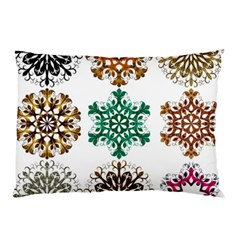 A Set Of 9 Nine Snowflakes On White Pillow Case