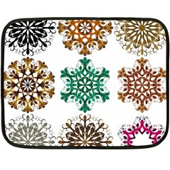 A Set Of 9 Nine Snowflakes On White Fleece Blanket (mini)