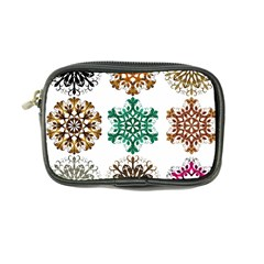 A Set Of 9 Nine Snowflakes On White Coin Purse