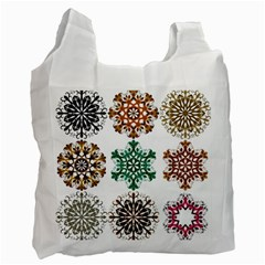 A Set Of 9 Nine Snowflakes On White Recycle Bag (two Side)