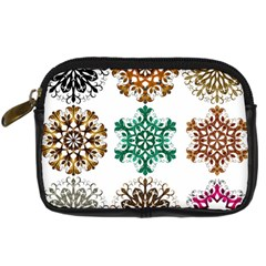 A Set Of 9 Nine Snowflakes On White Digital Camera Cases