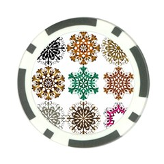 A Set Of 9 Nine Snowflakes On White Poker Chip Card Guard (10 Pack)