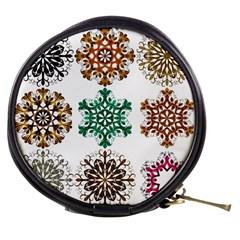 A Set Of 9 Nine Snowflakes On White Mini Makeup Bags