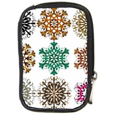 A Set Of 9 Nine Snowflakes On White Compact Camera Cases