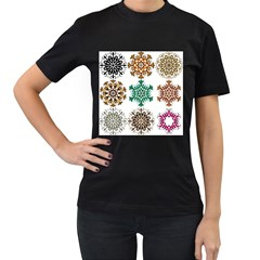 A Set Of 9 Nine Snowflakes On White Women s T Shirt (black)
