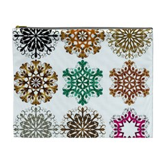 A Set Of 9 Nine Snowflakes On White Cosmetic Bag (xl)
