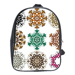 A Set Of 9 Nine Snowflakes On White School Bags(Large)