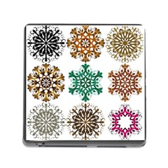 A Set Of 9 Nine Snowflakes On White Memory Card Reader (square)
