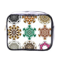A Set Of 9 Nine Snowflakes On White Mini Toiletries Bags