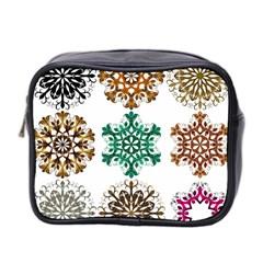 A Set Of 9 Nine Snowflakes On White Mini Toiletries Bag 2 Side
