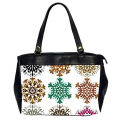 A Set Of 9 Nine Snowflakes On White Office Handbags (2 Sides)