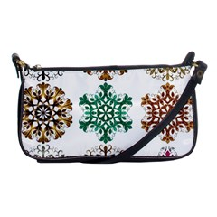 A Set Of 9 Nine Snowflakes On White Shoulder Clutch Bags