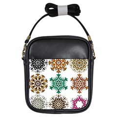 A Set Of 9 Nine Snowflakes On White Girls Sling Bags