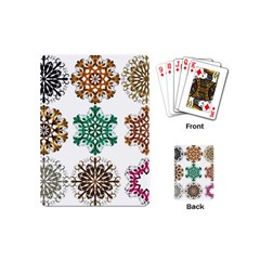 A Set Of 9 Nine Snowflakes On White Playing Cards (mini)