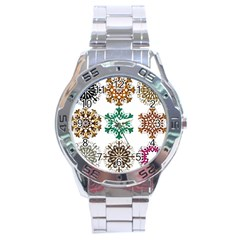 A Set Of 9 Nine Snowflakes On White Stainless Steel Analogue Watch