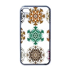 A Set Of 9 Nine Snowflakes On White Apple Iphone 4 Case (black)