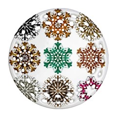 A Set Of 9 Nine Snowflakes On White Round Filigree Ornament (two Sides)