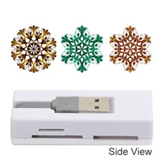 A Set Of 9 Nine Snowflakes On White Memory Card Reader (stick)