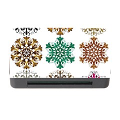 A Set Of 9 Nine Snowflakes On White Memory Card Reader With Cf