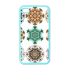 A Set Of 9 Nine Snowflakes On White Apple iPhone 4 Case (Color)